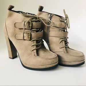 Mossimo Tan Faux Suede Booties Lace/Buckle Sz 6.5